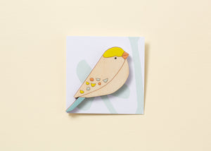 Songbird Hand Painted Wooden Brooch