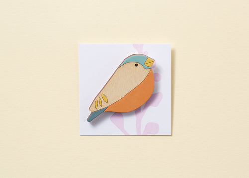 Bullfinch Hand Painted Wooden Brooch