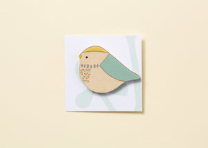 Blue Tit Hand Painted Wooden Brooch