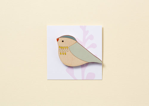 Pippet Hand Painted Wooden Brooch