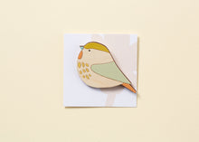 Willow Tit Hand Painted Wooden Brooch