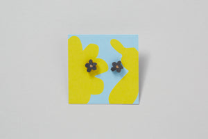 Forget Me Not Hand Painted Wooden Earring