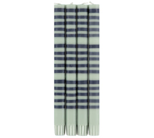 Striped Dinner Candle, Indigo and Opaline
