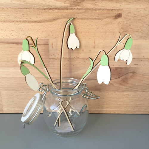 Hand Painted Wooden Snowdrop Stem