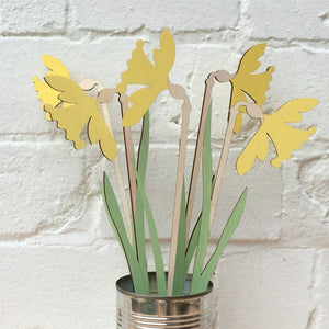 Hand Painted Wooden Daffodil Stem