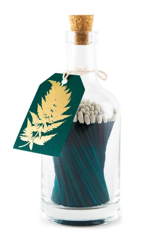 Bottle of Dark Green Matches with Strike Plate