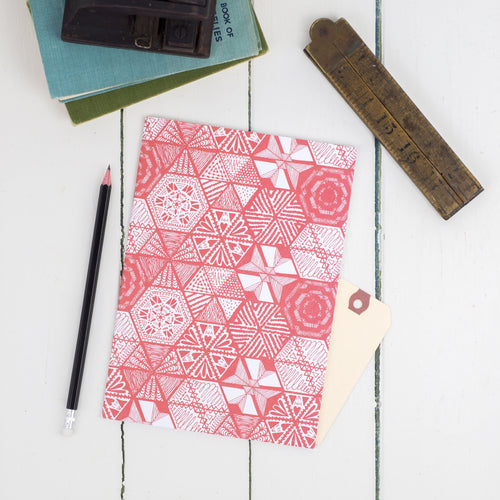 Hexie Doodle Coral A5 Notebook