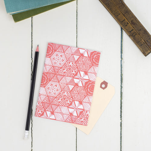 Hexie Doodle Coral A6 Notebook