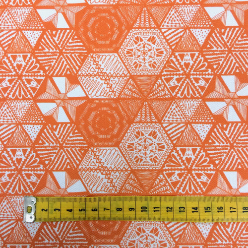 Hexie Doodle Coral Fabric by the metre