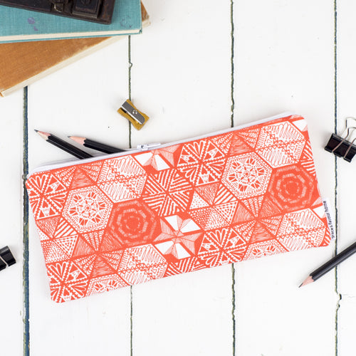 Hexie Doodle Coral Pencil Case