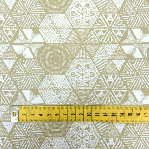 Hexie Doodle Taupe Fabric by the metre