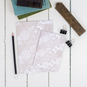 Hexies Doodle Taupe Notebook Set
