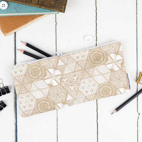 Hexie Doodle Taupe Pencil Case