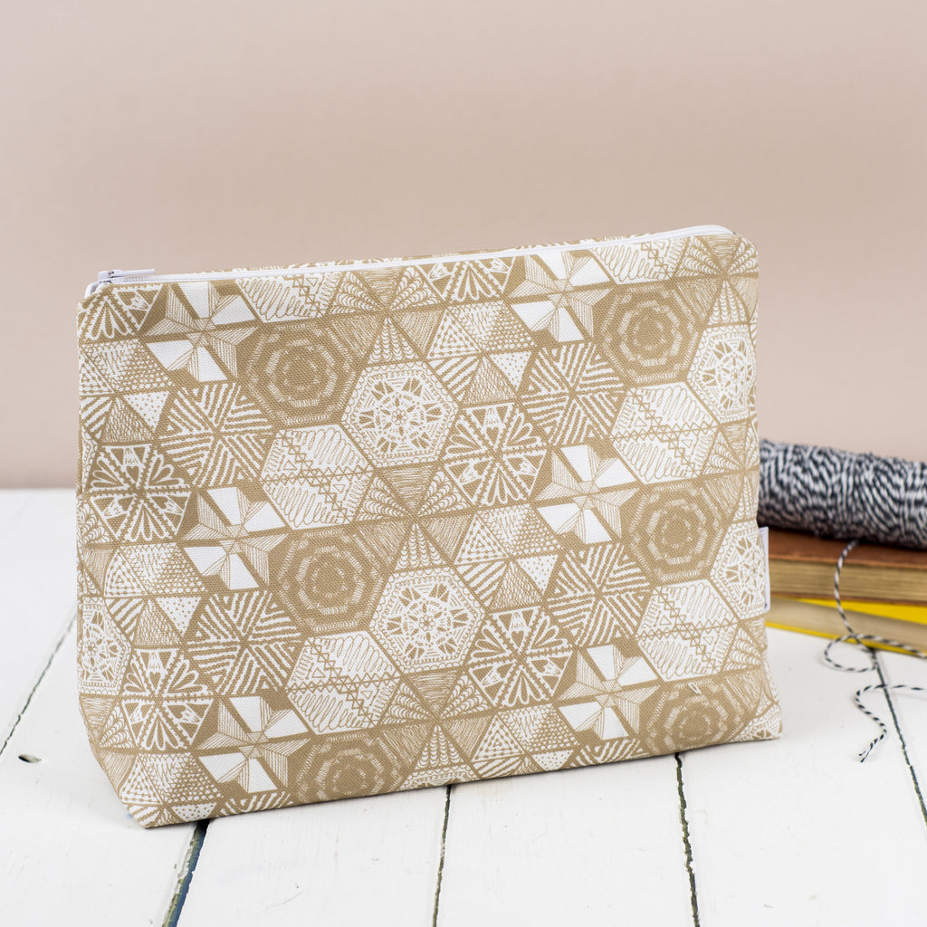 Hexie Doodle Taupe Toiletry Bag