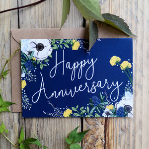 Happy Anniversary, Blue Floral Card