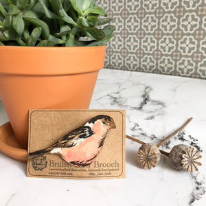 Wooden Bullfinch Brooch