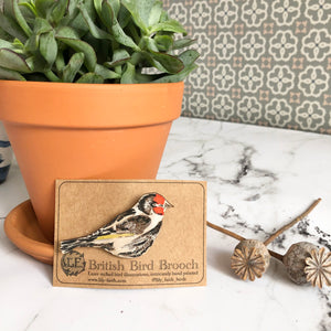 Wooden Goldfinch Brooch