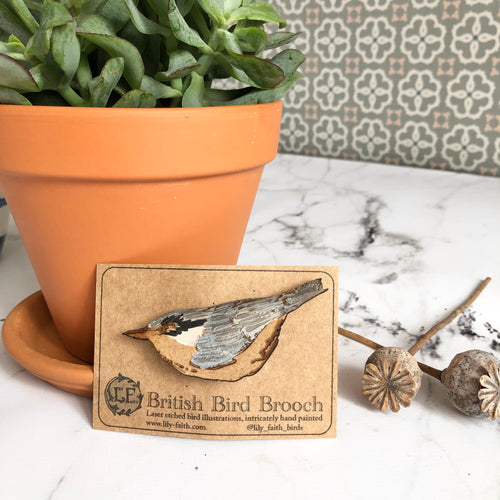 Wooden Nuthatch Brooch