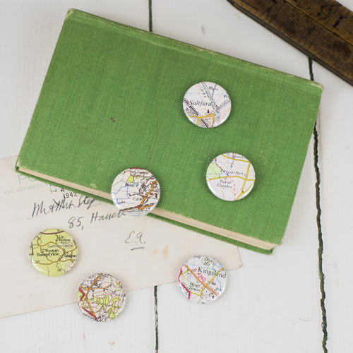 Vintage Map Badges