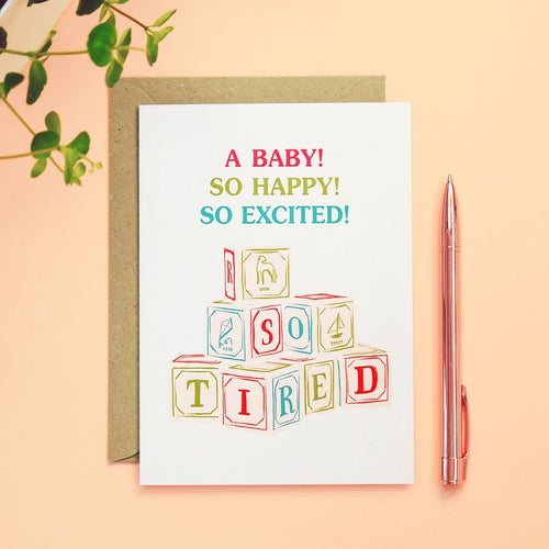 New Baby - So Tired Card