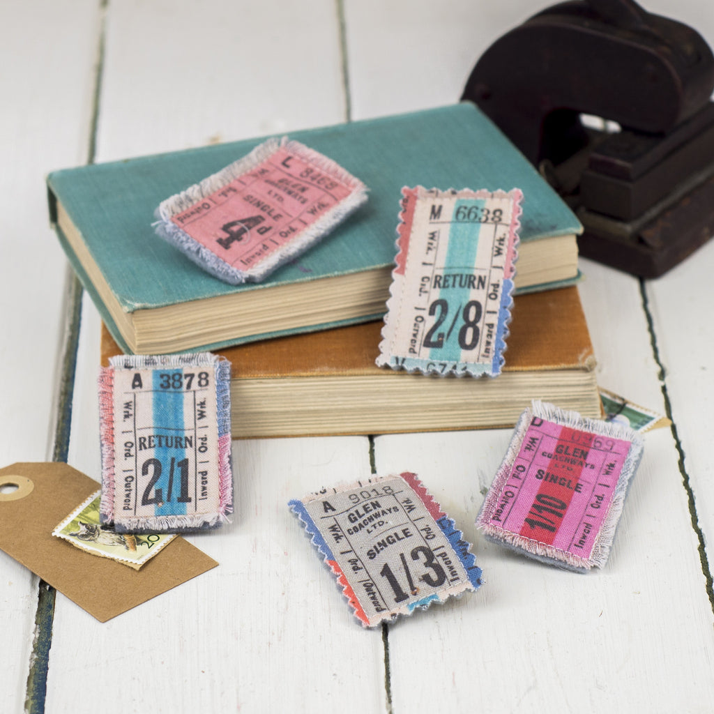 Vintage Tickets Brooch