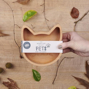 Wooden Cat Bowl