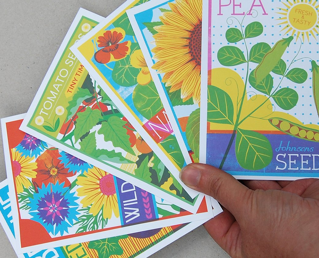 Seed Packets Postcard Set
