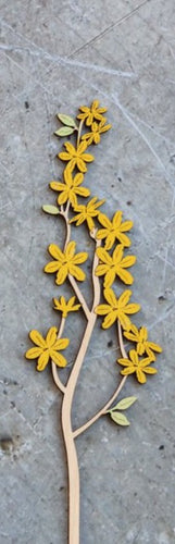 Hand Painted Wooden Winter Jasmine Flower Stem