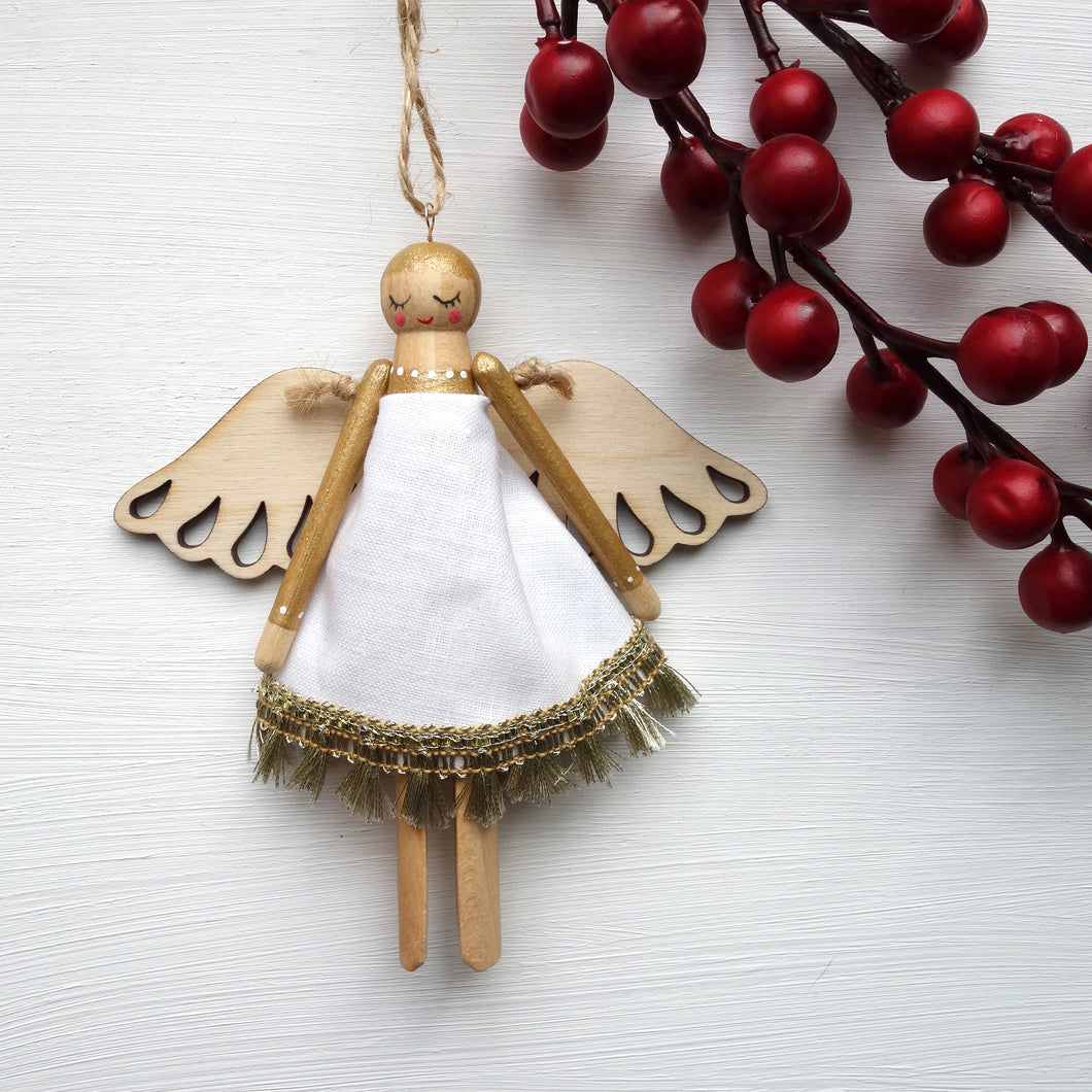 Wooden Peg Angel – Handmade Hanging Decoration