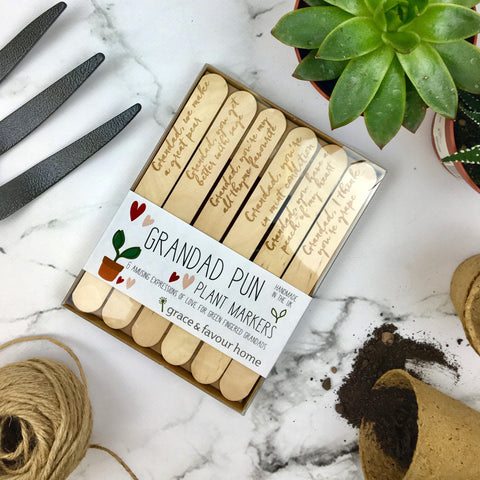 Grandad Pun Plant Markers - Boxed