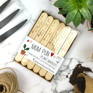 Mum pun plant markers - boxed
