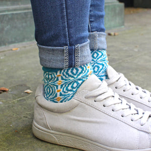 Peacock Blue 'Desen' Ladies Sock