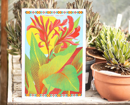 Canna Lily A3 Risograph Print