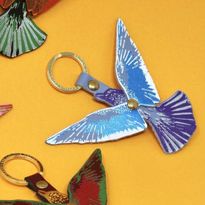Leather Flying Bird Key Fob - Choice of Colours