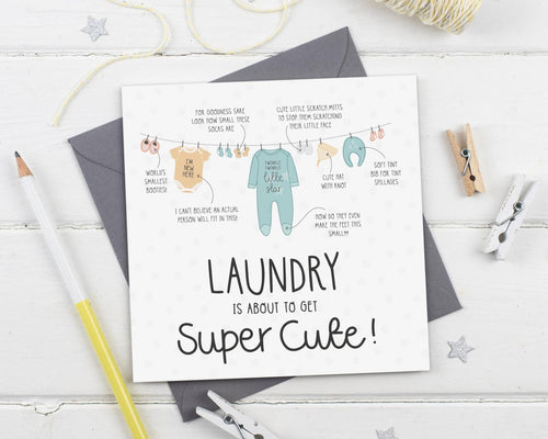 Laundry Is About To Get Super Cute New Baby Card