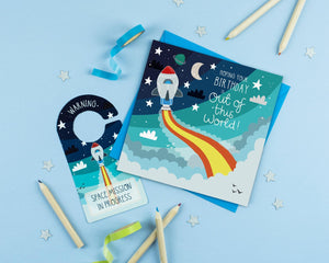 Space Rocket Birthday Card with Craft Activity