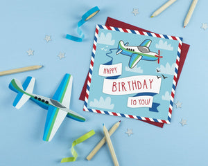 Happy Birthday Plane Card With Craft Activity