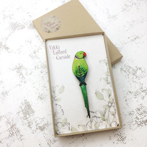 Ring-necked Parakeet Brooch