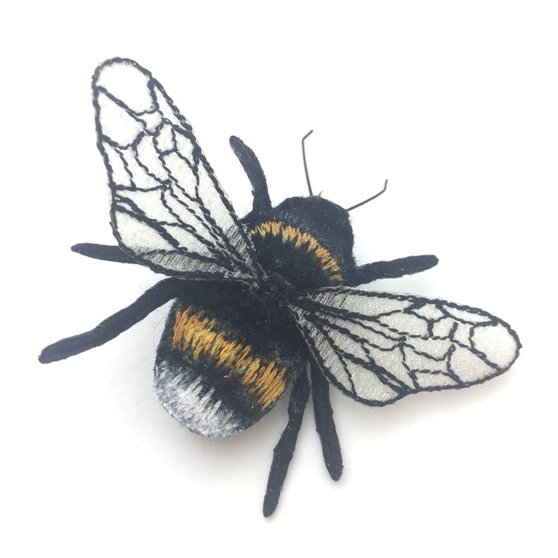 Bumblebee Brooch - White Tailed Bumblebee