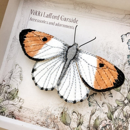 Orange Tip Butterfly Brooch