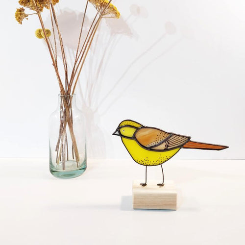 Yellowhammer stained glass ornament