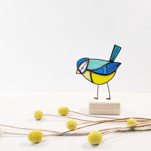 Bluetit stained glass ornament