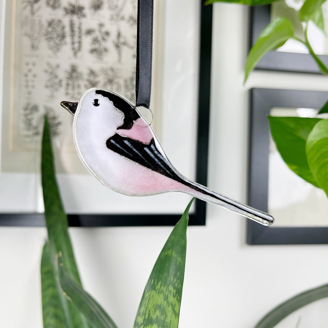 Long-tailed Tit Glass Decoration