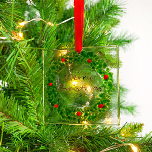 Merry Christmas Wreath Glass Decoration