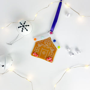 Christmas Gingerbread House Glass Decoration