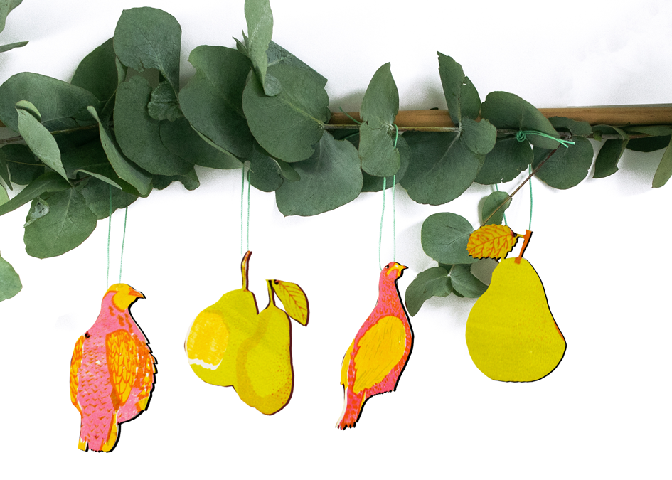 Partridge and Pear Wooden Decorations