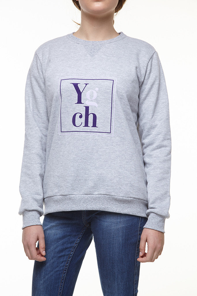 Ygch Grey Sweatshirt with Purple and Lavender Print
