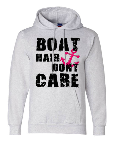 "Unisex Champion Double Dry Eco Hooded Sweatshirt ""Boat Hair Dont Care"" RB Clothing Co"