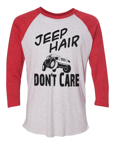 "Unisex Christmas Soft Tri-Blend Baseball T-Shirt ""Jeep Hair Don't Care"" Rb Clothing Co"