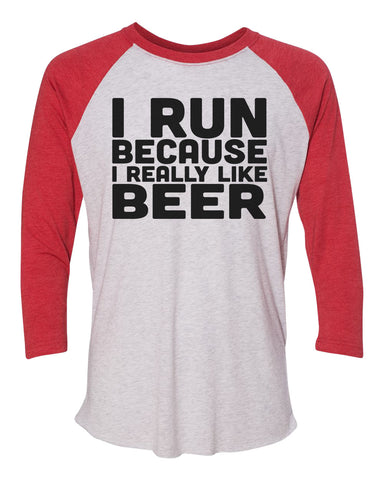 "Unisex Christmas Soft Tri-Blend Baseball T-Shirt ""I Run Because I Really Like Beer"" Rb Clothing Co"